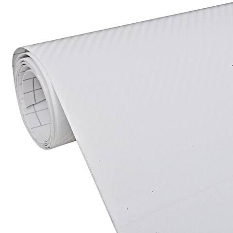 """Carbon Fiber Vinyl Car Film 3D White 60"""" x 79"""" - 2' x 8' Runner"""