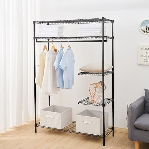 Heavy-Duty Wire Shelving Garment Rack with 3 Shelves