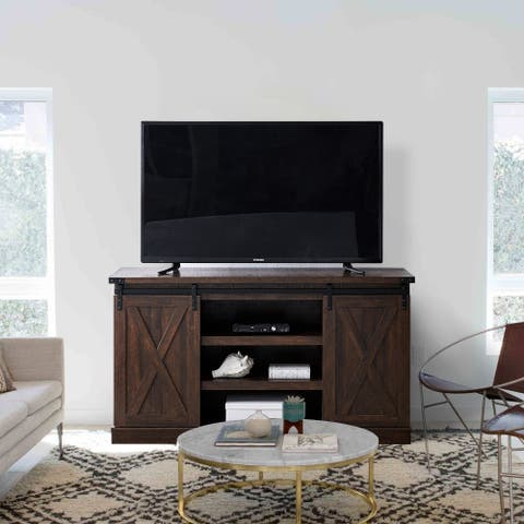 Walnut Brown 60-in TV Stand for TVs