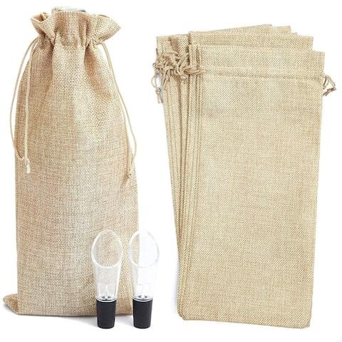 12x Burlap Reusable Wine Bottle Gift Bags w/ Drawstring & 2 Bonus Wine Pourers