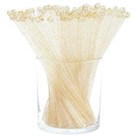 100x Gold Glitter Swizzle Sticks, Plastic Disposable Stir Stick for Cocktails