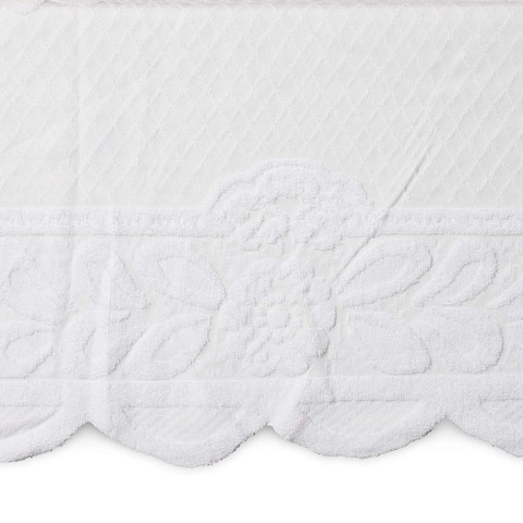 Lace Floral Rectangle Table Cloth Cover, 60 x 98 inches White Flower Tablecloth for Dining Table, Festive Events