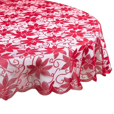 Lace Round Table Cloth Cover, 72 inches Diameter Poinsettia Red Circle Tablecloth for Christmas Holiday Party, Festive Events