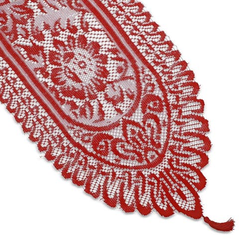 Red Lace Table Cloth Runner Doilies Wedding Bridal Shower Decor 13 x 72""