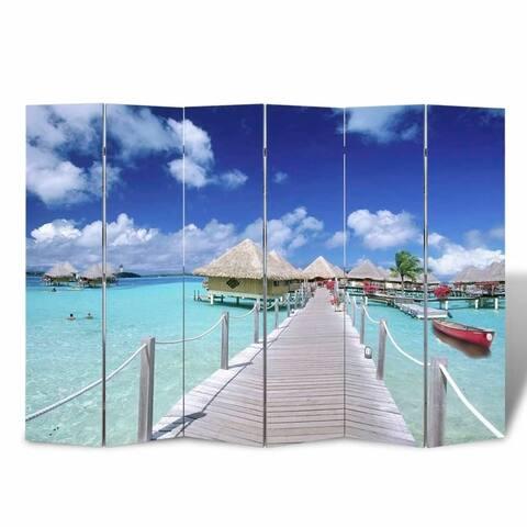 "Folding Room Divider 94.5""x66.9"" Beach"