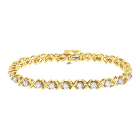 10K Yellow Gold Plated Sterling Silver 1ct TDW Diamond Link Bracelet (J-K, I1-I2)