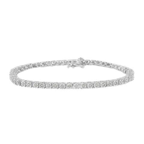 IGI Certified Sterling Silver 1ct TDW Rose-cut Diamond Tennis Bracelet (I-J, I3-Promo)