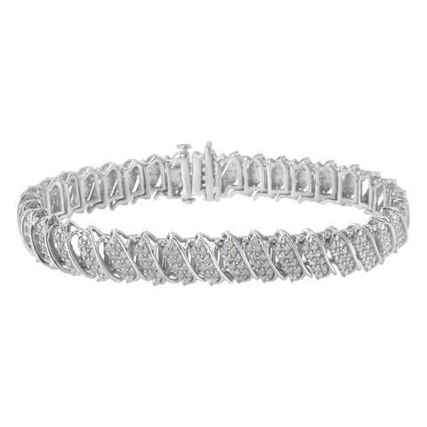 Sterling Silver 3ct. TDW Diamond Multi Row Link Tennis Bracelet (I-J, I2-I3)