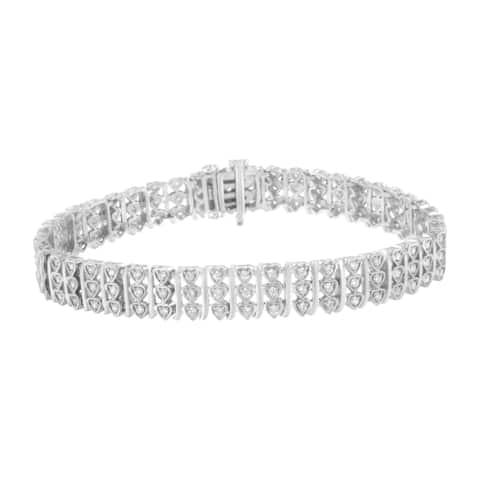 Sterling Silver 1 1/2ct TDW Diamond Link Bracelet (I-J,I3)