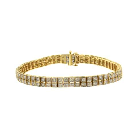 10K Yellow Gold Plated Sterling Silver 3ct TDW Diamond Tennis Bracelet (K-L, I1-I2)