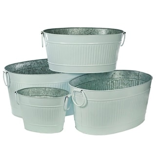 Metal Tubs with Ribbed Design, Gray, Set of 4