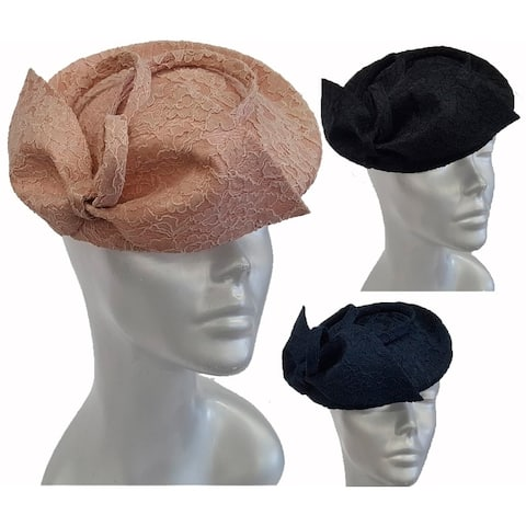 Lace Covered Straw Sinamay women's pillbox fascinator hat