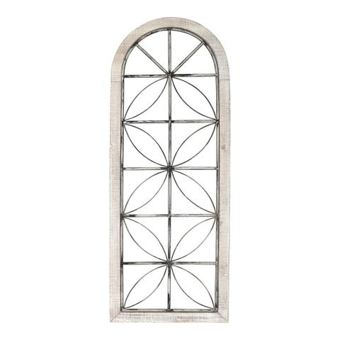Stratton Home Decor Distressed White Metal and Wood Window Panel - 16.65 X 0.98 X 43.00