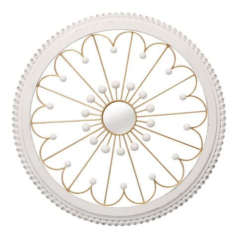 Stratton Home Decor White and Gold Medallion with Mirror Wall Decor - 23.75 X 1.50 X 23.75