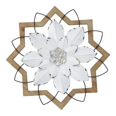Stratton Home Decor Metal White Flower and Wood Frame - 16.00 X 1.50 X 16.00