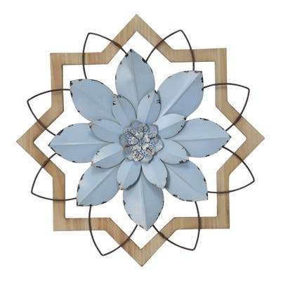 Stratton Home Decor Metal Blue Flower and Wood Frame - 16.00 X 1.50 X 16.00
