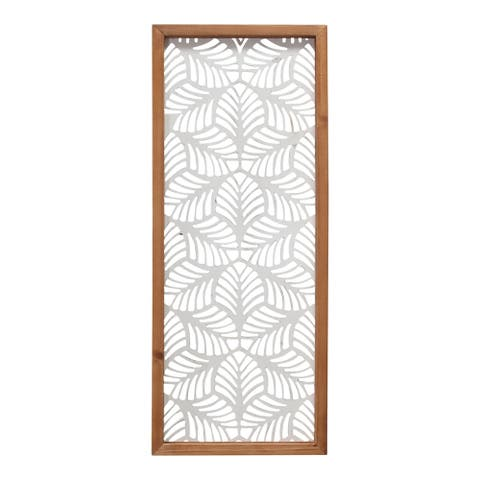 Stratton Home Decor Carved Leaf Wood Wall Panel - 10.00 X 1.00 X 24.50