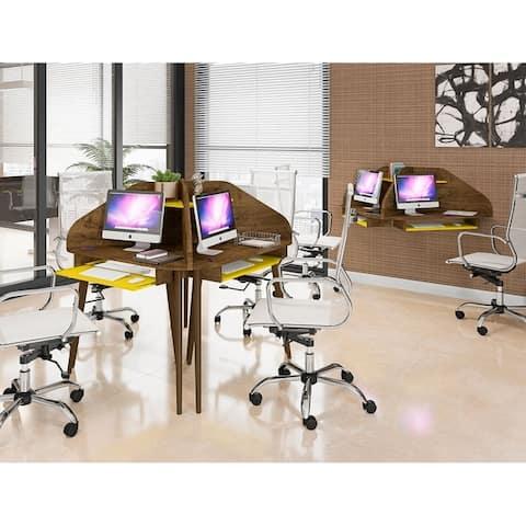 Bradley 2-Piece Cubicle Section Desk with Keyboard Shelf by Manhattan Comfort