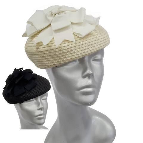 Grosgrain Bow straw braid women's beret Derby Synagogue fascinator Hat