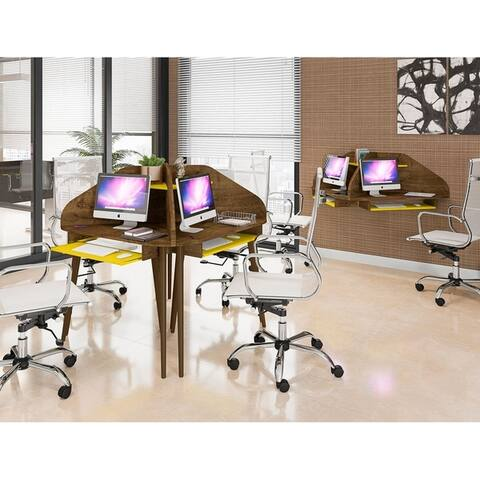 Bradley 4-Piece Round Sectional Cubicle Desk with Keyboard Shelf by Manhattan Comfort