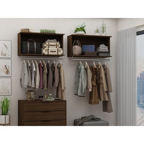 Rockefeller 35.24 Floating Hanging Closet with Shelf and Hanging Rod by Manhattan Comfort