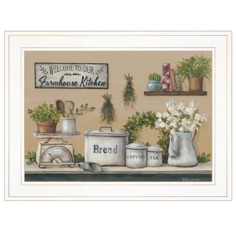 """Garden Farmhouse Kitchen"" By Pam Britton, Ready to Hang Framed Print, White Frame"