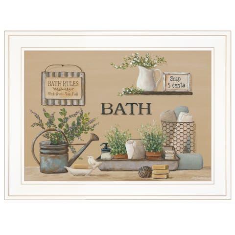 """Farmhouse Bath II"" By Pam Britton, Ready to Hang Framed Print, White Frame"