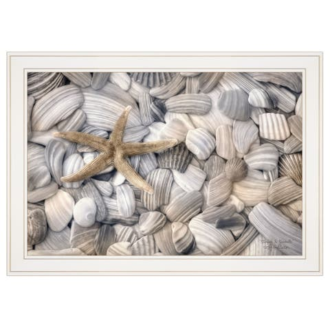 """Starfish & Seashells"" By Lori Deiter, Ready to Hang Framed Print, White Frame"