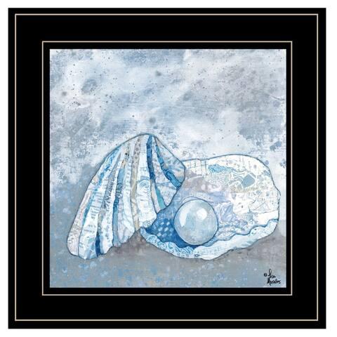 """Blue-Gray Seashells I"" By Lisa Morels, Ready to Hang Framed Print, Black Frame"