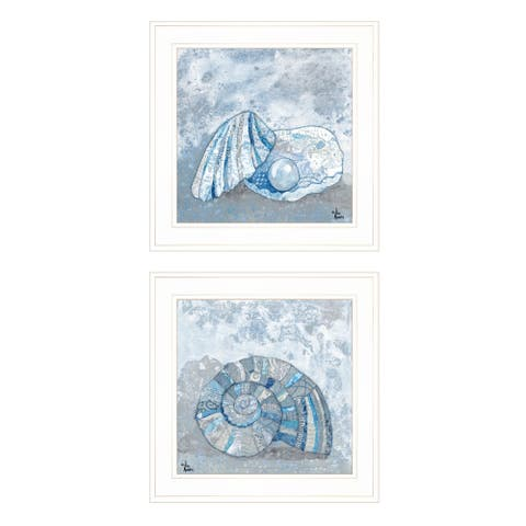 """Seashells I & II"" By Lisa Morels, Ready to Hang Framed Print, White Frame"