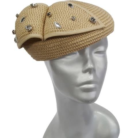 Rhinestones straw braid women's beret Derby Synagogue fascinator Hat