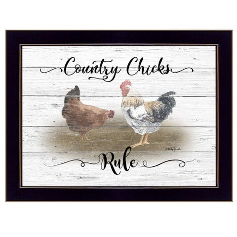 """""""Country Chicks Rule"""" By Billy Jacobs, Ready to Hang Framed Print, Black Frame"""