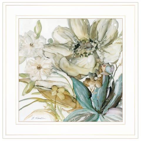 """Sea glass Garden II"" By JG Studios, Ready to Hang Framed Print, White Frame"
