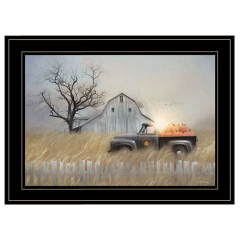 """Fall Pumpkin Harvest"" By Lori Deiter, Ready to Hang Framed Print, Black Frame"