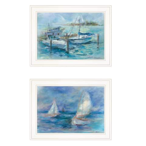 """""""Dockside"""" By Tracy Owen-Cullimore, Ready to Hang Framed Print, White Frame"""
