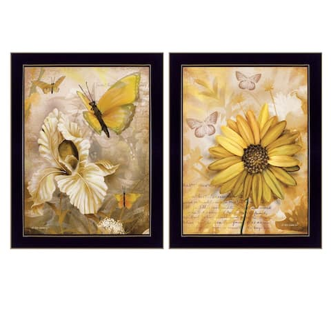 """""""Flowers & Butterflies"""" By Ed Wargo, Ready to Hang Framed Print, Black Frame"""