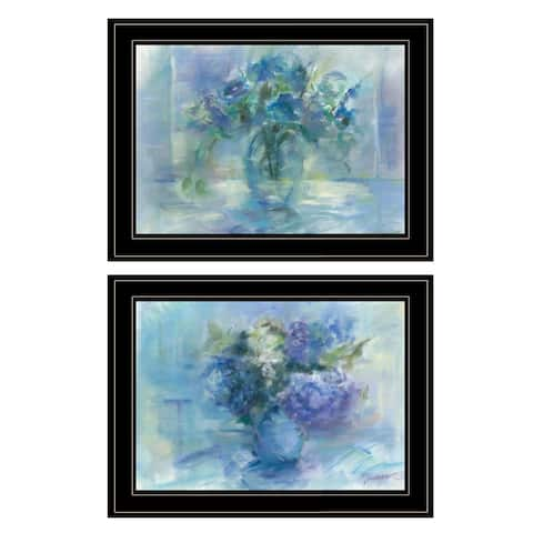 """""""Susie's Blue Bouquet"""" By Tracy Owen, Ready to Hang Framed Print, Black Frame"""