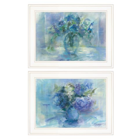 """""""Susie's Blue Bouquet"""" By Tracy Owen, Ready to Hang Framed Print, White Frame"""