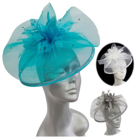 Women's beautiful crinoline fascinator Hat trimmed w feather flowers