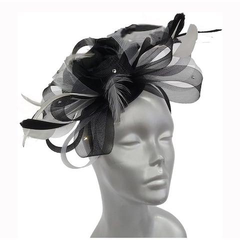 Beautiful 2 tone crinoline fascinator w/ feather flowers & rhinestones