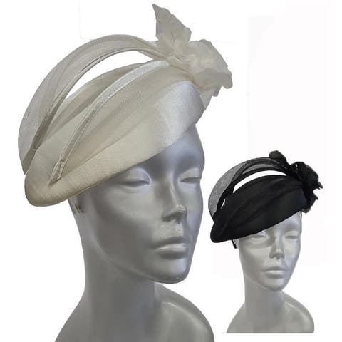 Women's satin-covered pillbox Church, Synagogue, Temple fascinator