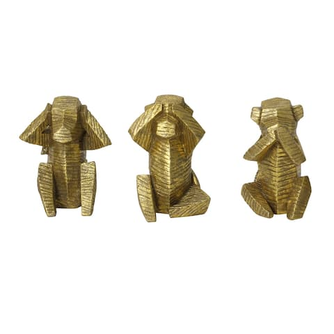 Stratton Home Decor Set of 3 Wise Monkey Tabletop Sculptures - 5.51 X 4.33 X 7.09