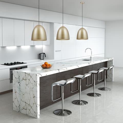 Irvine 1-Light Black Pendant Light, White Interior, LED Bulb Included