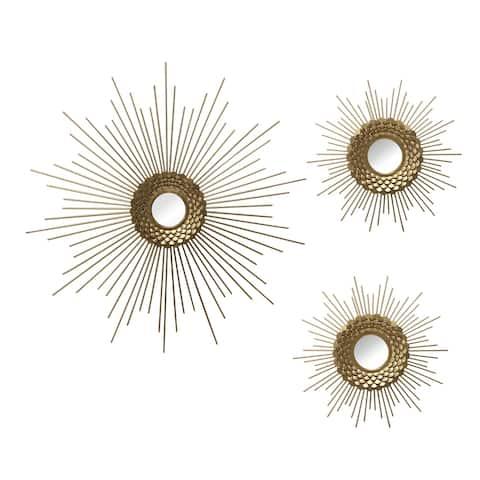 Stratton Home Decor Set of 3 Gold Starburst Wall Mirrors - 18.00 X 0.75 X 18.00