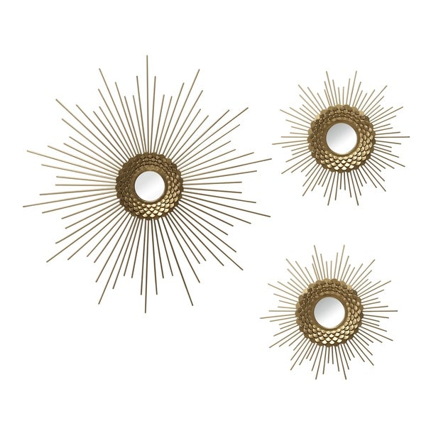 Stratton Home Decor Set of 3 Gold Starburst Wall Mirrors - 18.00 X 0.75 X 18.00. Opens flyout.
