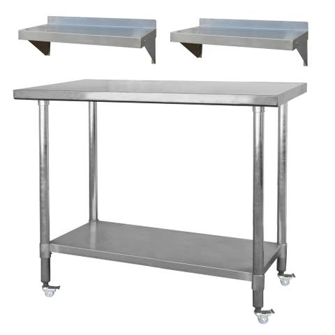 """Stainless Steel Station - 48"""" Work Table on Casters & 2 - 24"""" Shelves"""