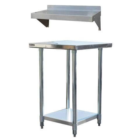 "Stainless Steel Work Station - 24"" Workbench Table & 24"" Utility Shelf"