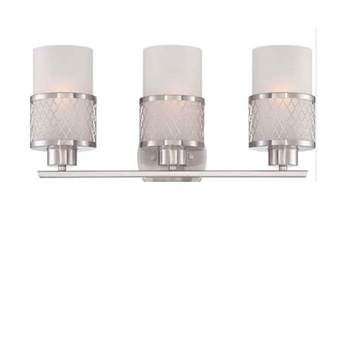 Modern Satin Nickel Opal 3Bulb Vanity Light With White Glass Shades