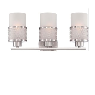 Link to Modern Satin Nickel Opal 3Bulb Vanity Light With White Glass Shades Similar Items in Bathroom Vanity Lights