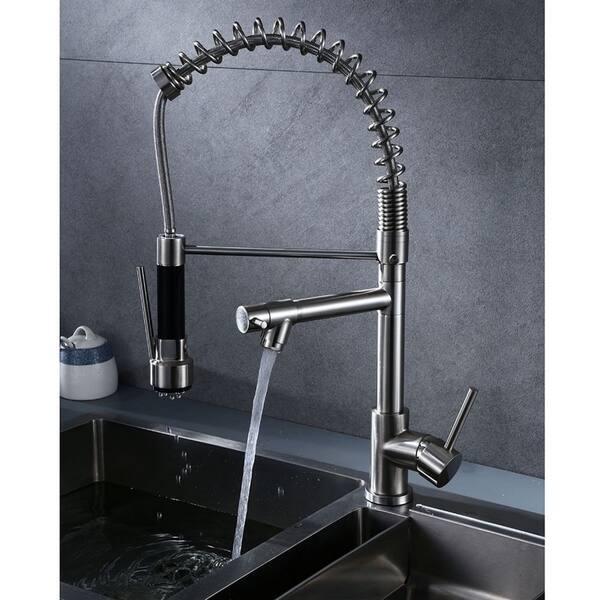 Highlanderhome Modern Kitchen Faucet Doublehead Brushedchrome Finished Doublehead Brushedchrome Overstock 31099235